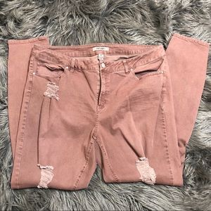 Pink distressed ripped refuge skinny jeans